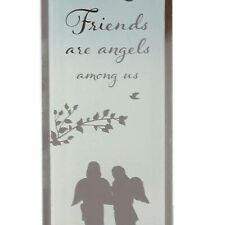 Reflections of the Heart Mirror Glass Standing Plaque Gift – Friends are Angels