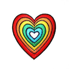 Rainbow Heart Retro Hippie 80s Vintage DIY Fashion Cloth Backpack Iron on Patch