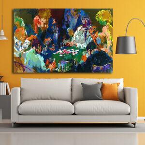 Home Wall Art Print Deco Canvas Painting LeRoy Neiman International Poker 20x30