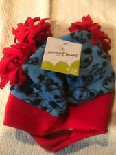 NWT Jumping Beans Infant Boys Hat & Mittens Blue & Red Pom Poms ~ Size 6-18 mth