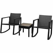 vidaXl Outdoor Rocking Chair Table 3 Piece Poly Rattan Black Garden Furniture