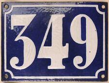 Large old French house number 349 door gate plate plaque enamel steel metal sign