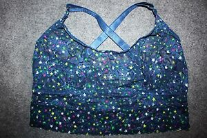 FREDERICKS OF HOLLYWOOD LACE CROP CAMI RACERBACK WOMENS Blue Stars