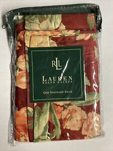 NEW Ralph Lauren STANDARD Sham DESERT PLAINS Floral Burgundy Red
