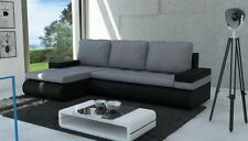 corner sofa bed grey fabric black Eco leather living room bonnel spring