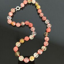 "10mm Vintage Faceted Watermelon Tourmaline Round Beads Gems Necklace 18"" JN433"
