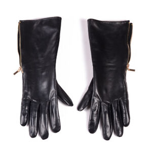 30cm Men's 100% Real Leather Thin Lining Side Zipper Gauntlet Long gloves