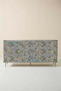 Bone inlay optical inlay chest of 9 drawers in black (haley hughes) with insuran
