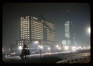 Orig 1956 Los Angeles City Hall Night Fog Scene Kodak 35mm Red Border Slide
