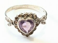 VINTAGE STERLING SILVER AMETHYST HEART RING SIZE 7 1/4 SIGNED TESTED REPAIR