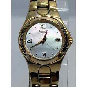 Citizen Eco-Drive E010-H29875 Pearl Dial Gold Tone Womens Watch