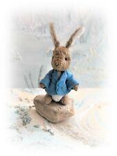 """4 1/2"""" Faux Fur Little Baby Bunny Peter Rabbit Teddy Bear OOAK jointed Artist"""