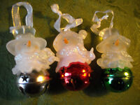 Vintage Frosted Snowman Jingle Bell Ornaments (3) Silver Green Red