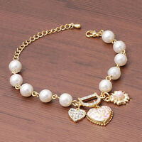 Lady Women Gold Plated Rhinestone Heart Bangle Bracelet Jewelry! K2G9