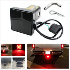 Car Truck 2'' Smoke Red Led Trailer Towing Hitch Receiver Cover Brake Tail Light