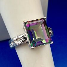 Stunning 10K White Gold Mystic Topaz Diamond Accent Statement Cocktail Ring
