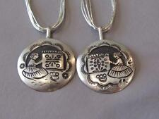 2-Sterling Silver Inlay Native American Pendants signed JWB-Liquid Silver Chains
