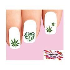 Waterslide Nail Decals Set of 20 - Green Cannabis Pot Marijuana Heart Assorted