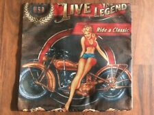 Vintage Harley Davidson Motorcycle Classic Linen Square Pillow Cushion Cover.