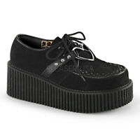 Demonia Creepers 206 Unisex Goth Punk Rockabilly Creeper Black Suede Heart Shoes
