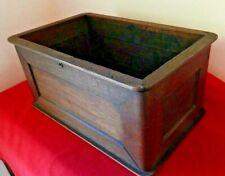 Antique Walnut Wood Open Box Filing Drawer w/Brass Lock Mechanism