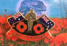 ANZAC Poppy Flags *remembrance Day Lapel Pin Badge on Card