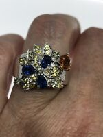 Vintage Blue Sapphire Ring 925 Sterling Silver Citrine Size 5