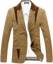 Men's Casual Western-Style Lightweight Slim Two-Buttons Cotton Suit Blazer XXL