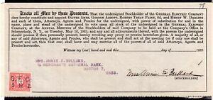 **USA = 5c Documentary Revenue on G. E. C. Stockholder document. 1925. (O0700m)