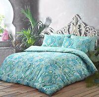 New Moroccan Paisley Aqua Reversible Duvet Quilt Cover Pillowcase Set All Size