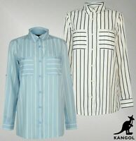 Ladies Kangol Full Button Stripe Top Lightweight Long Sleeve Shirt Sizes 8-16