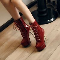 Womens Super High Heel Lace Up Platform Evening Shoes Patent Leather Ankle Boots