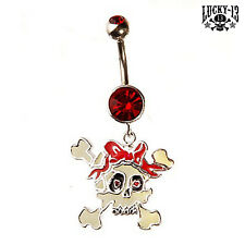 LUCKY 13 Bauchnabel Piercing Skull & Bow & Stone -Navel Belly Piercing NEU