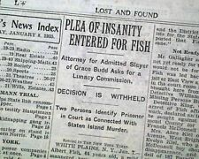 ALBERT FISH Serial Killer Child Rapist Cannibal PLEADS INSANITY 1935 Newspaper