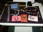 MIXED LOT JEWELRY NICE PINS LINK BRACELET NECKLACE MATCHING EARRINGS 8 PCS NICE