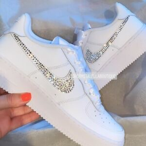 Crystal Nike Air Force 1's in White with Customised Swarovski Crystal Ticks