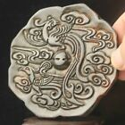 Chinese old natural jade hand-carved statue phoenix mirror pendant 3.3 inch