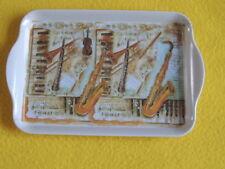 Ambiente 1x Tablett  MUSIK Instrumente Melamin 13 x 21 trays MUSICAL Geige Noten