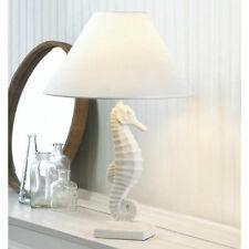 White Seahorse Table Bedside Desk Lamp for Tropical Coastal Beach Home Decor