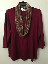NWT Kim Rogers Women's Plus 3X Purple Cowl Neck Sparkle Scarf + Sweater