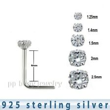 5pcs. .925 Sterling Silver Prong Set L-Shape Nose Stud 22g 1.25mm to 2.5mm CZ