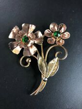 Vintage Sterling Silver with Rose & Yellow Gold Flower 2.5in. Brooch