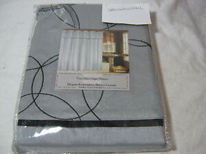 New Crest Home Design  Infinity Embroidered Shower Curtain Silver/Black 70x72