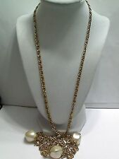 """Vintage Coro Long Scoll Chain Faux Pearl Necklace, 56"""""""