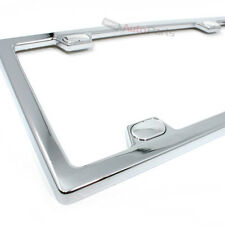 Chrome Metal Custom License Plate Tag Frame & Screw Caps for Auto-Car-Truck-SUV