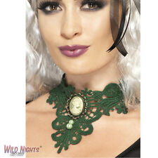 FANCY DRESS ACCESSORY # HALLOWEEN GREEN FEMME FATALE GOTHIC LACE CHOKER