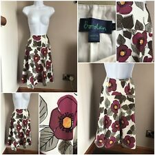 ladies boden floral skirt size 8 cotton floral design lined