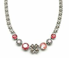 MARIANA Rose Swarovski Crystal Silvertone Pink Simulated Pearl Flower Necklace