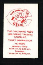 Cincinnati Reds--1989 Spring Training Pocket Schedule--Ponderosa