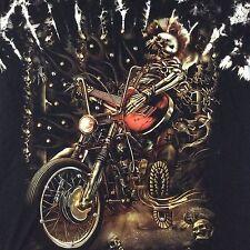 SURVIVORS Studded Motorcycle Skull Guitar Graphic Black T-Shirt Mens Medium M